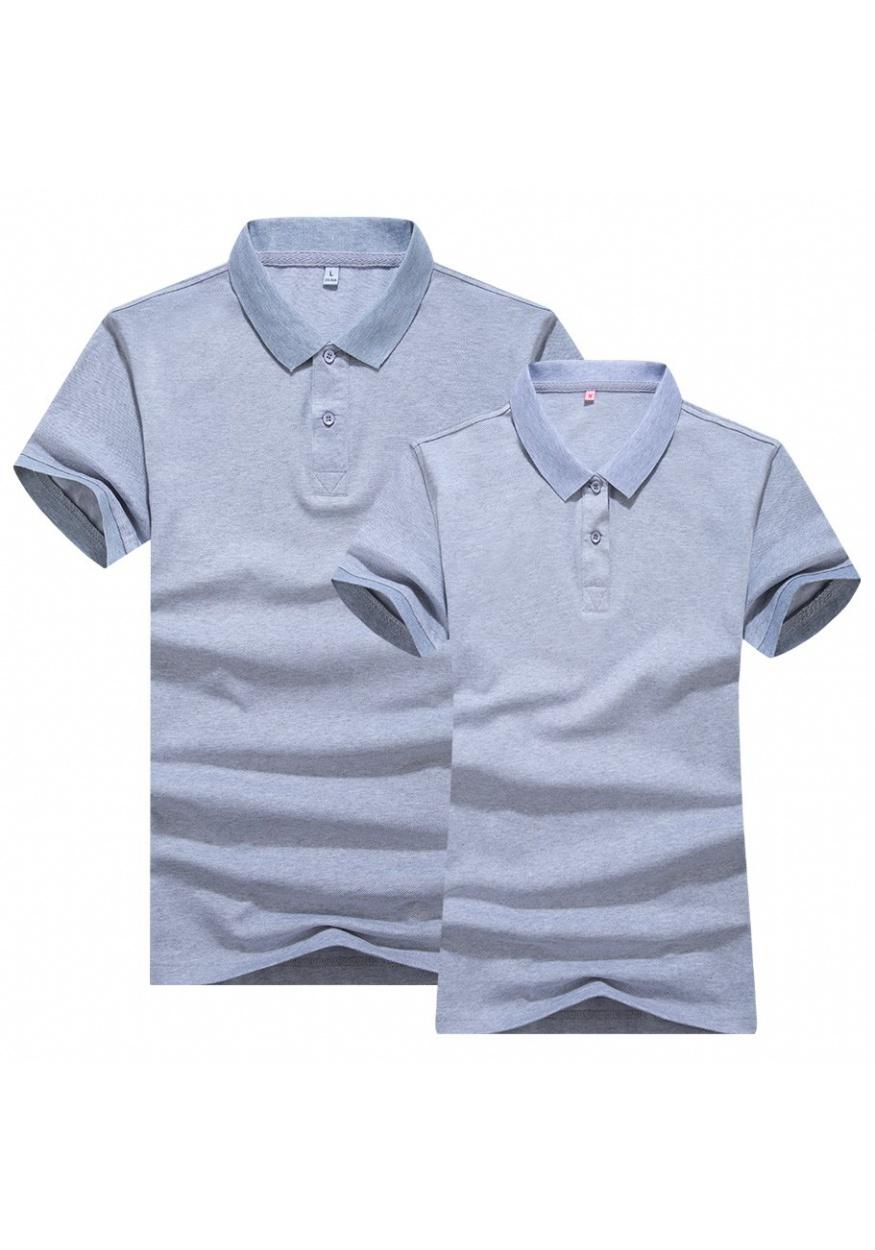 麻灰雙色絲光POLO衫T恤