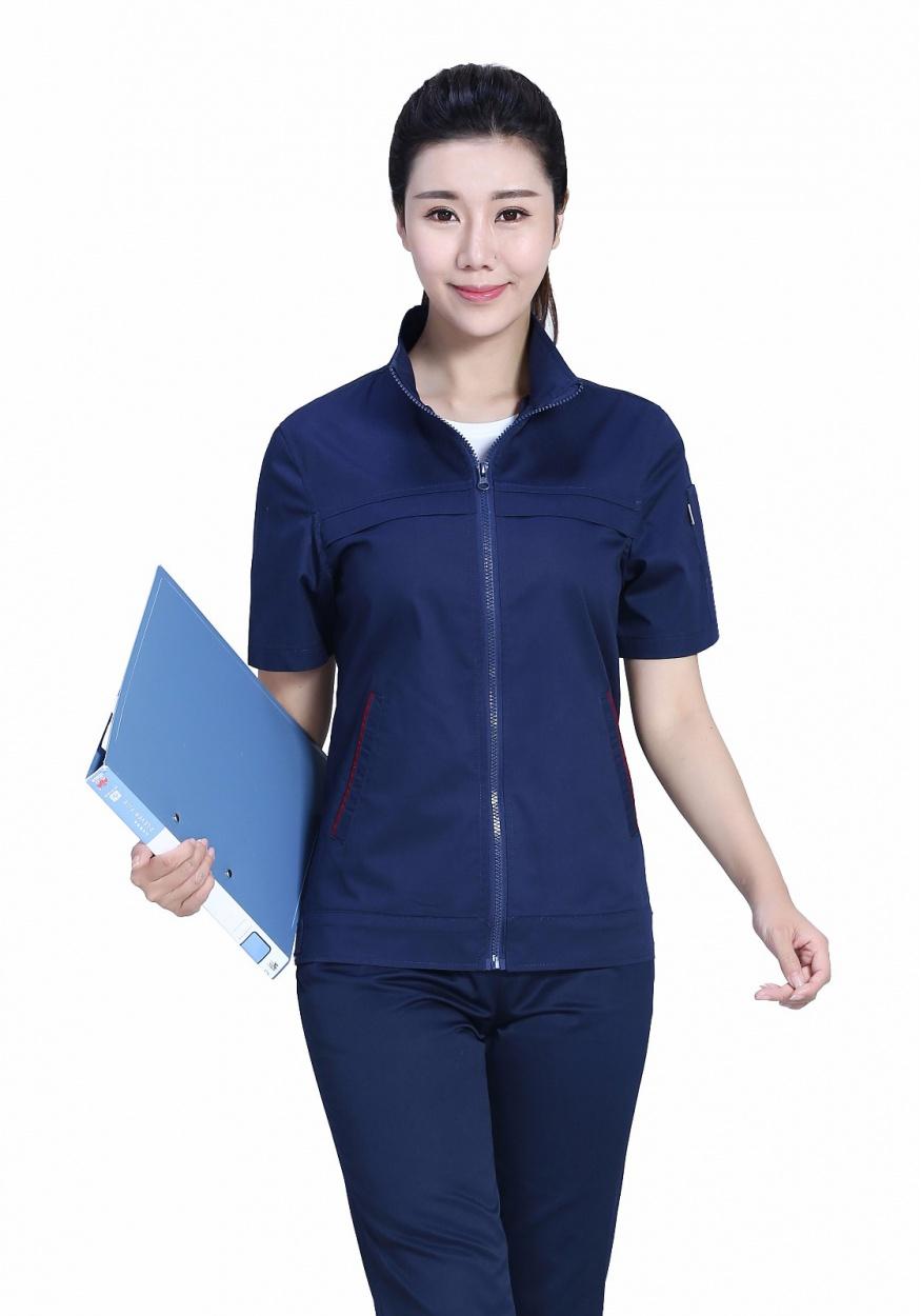 新款深藍色夏季滌棉細斜短袖工作服FY638