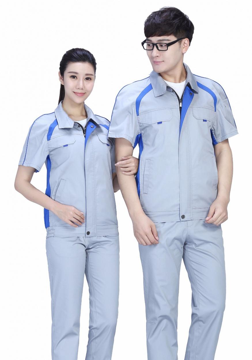 新款銀灰色時尚配色夏季滌棉細紋短袖工作服FY635