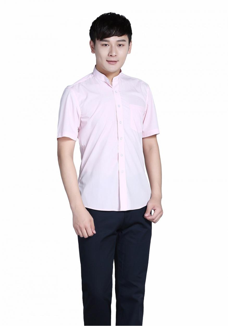 新款襯衫粉色男粉色立領商務短袖襯衫
