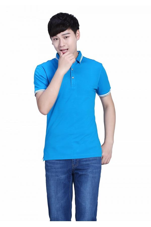 新款湖藍色POLO衫萊賽爾平紋短袖T恤