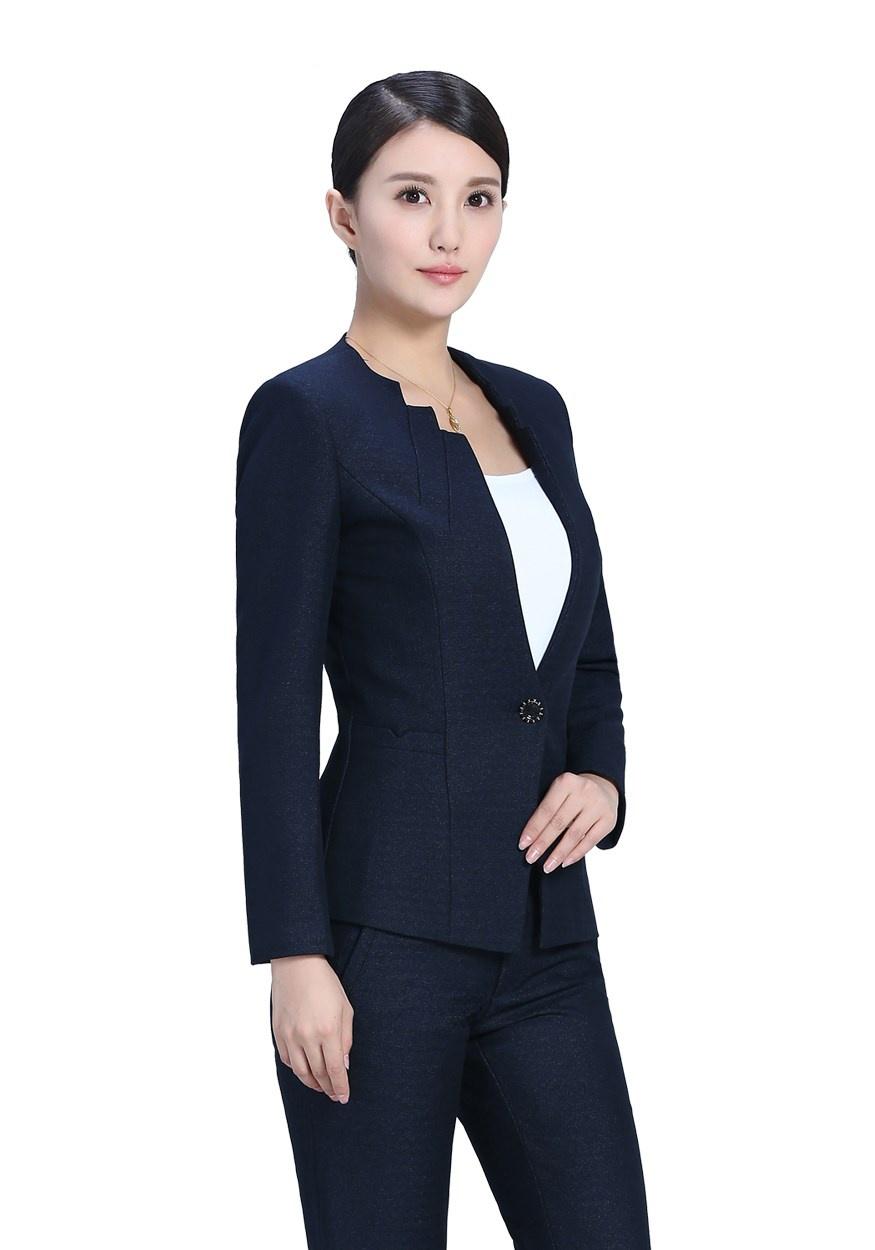 新款深藍色開領職業套裝